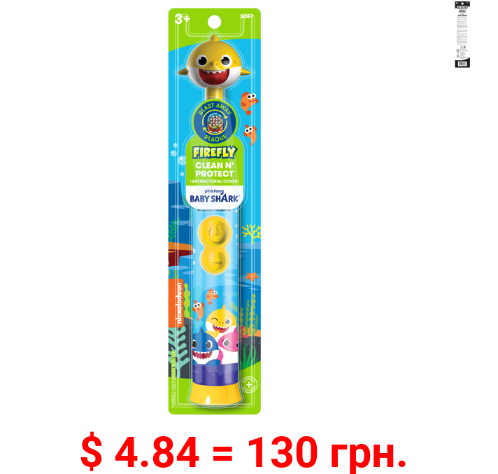 Firefly Baby Shark Clean N' Protect Toothbrush with Antibacterial Cap