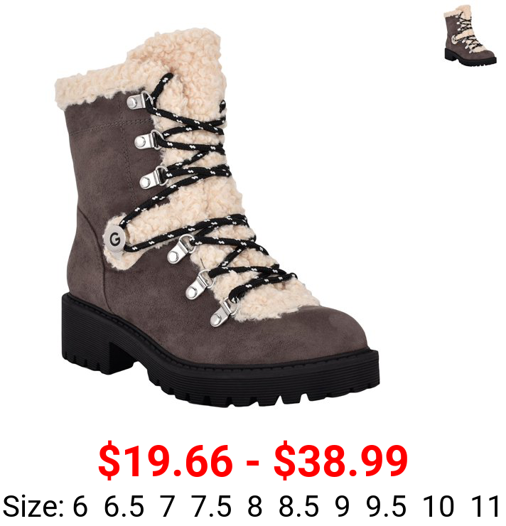 G by Guess Womens Sherry 2 Faux Fur Lug Sole Winter Boots Gray 11 Medium (B,M)