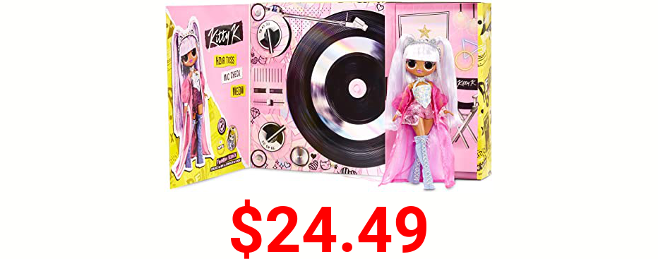 LOL Surprise OMG Remix Kitty K Fashion Doll – with 25 Surprises, Plays Music, with Extra Outfit, Shoes, Hair Brush, Doll Stand, Lyric Magazine, and Record Player Package - For Girls Ages 4+