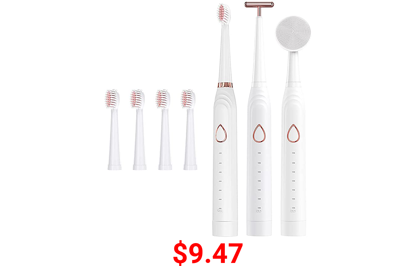 Rechargeable Sonic Electric IPX7 Waterproof Toothbrush with 6 Brushing Modes Smart Timer -5 Dupont Brush Heads 1 face Washing Brush Head and 1 Facial Massage Brush Head includ