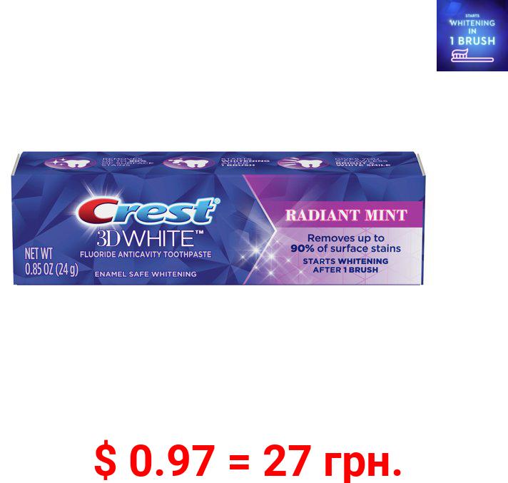 Crest 3D White Teeth Whitening Toothpaste, Radiant Mint, .85 Oz