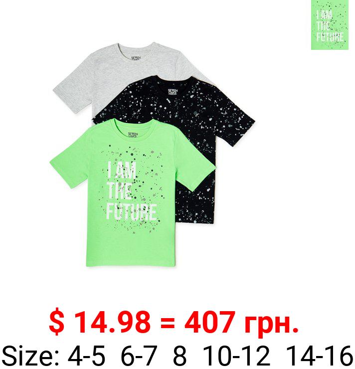Seven Oaks Boys T-Shirts, 3-Pack, Sizes 4-16
