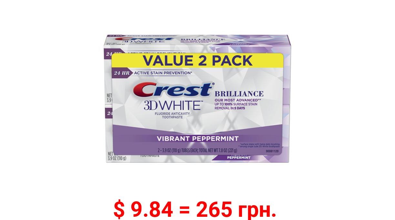Crest 3D White Brilliance Teeth Whitening Toothpaste, Peppermint, 3.9 Oz, 2 pk