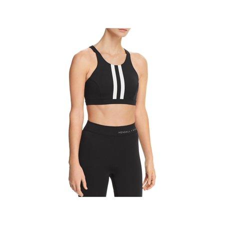 Kendall + Kylie Womens Striped Short Sports Bra B/W XS