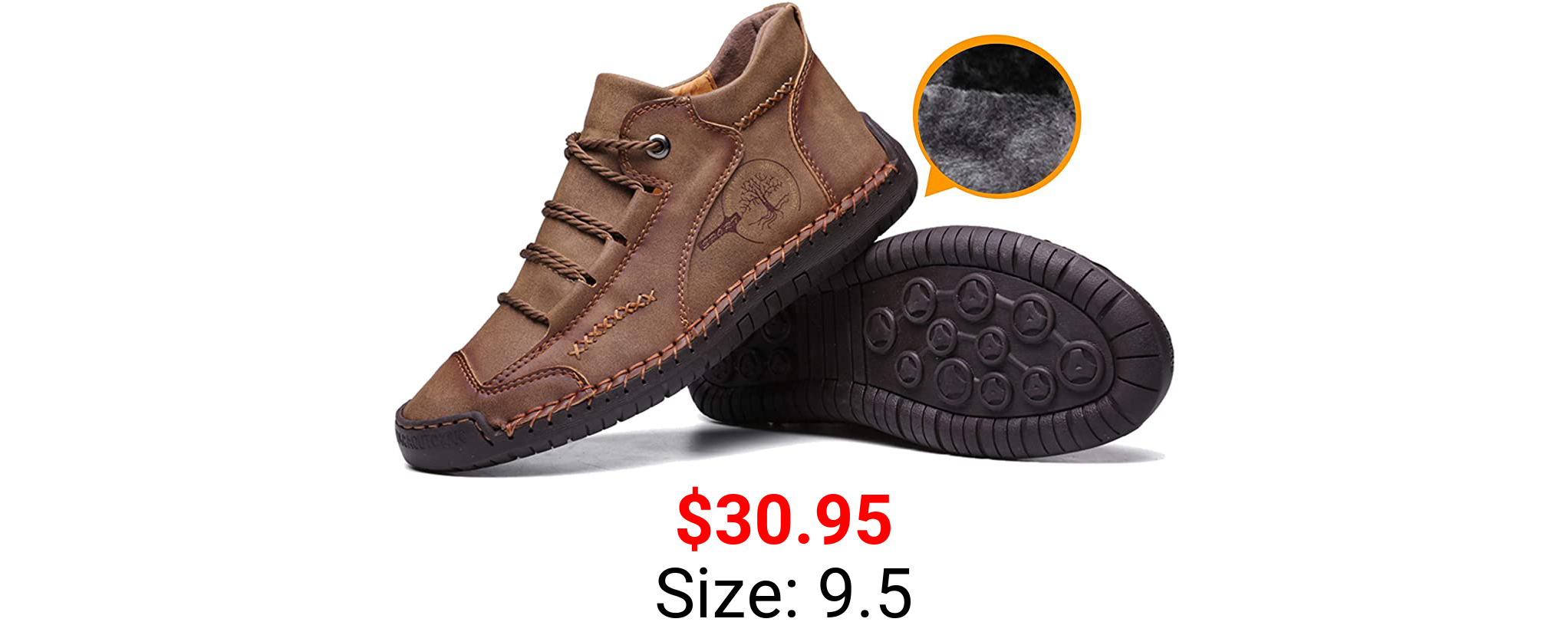 Moodeng Mens Ankle Boots Winter Snow Boots Casual Chukka Boots for Men Anti-Slip Outdoor Driving Shoes Warm Fur Lining Sneaker