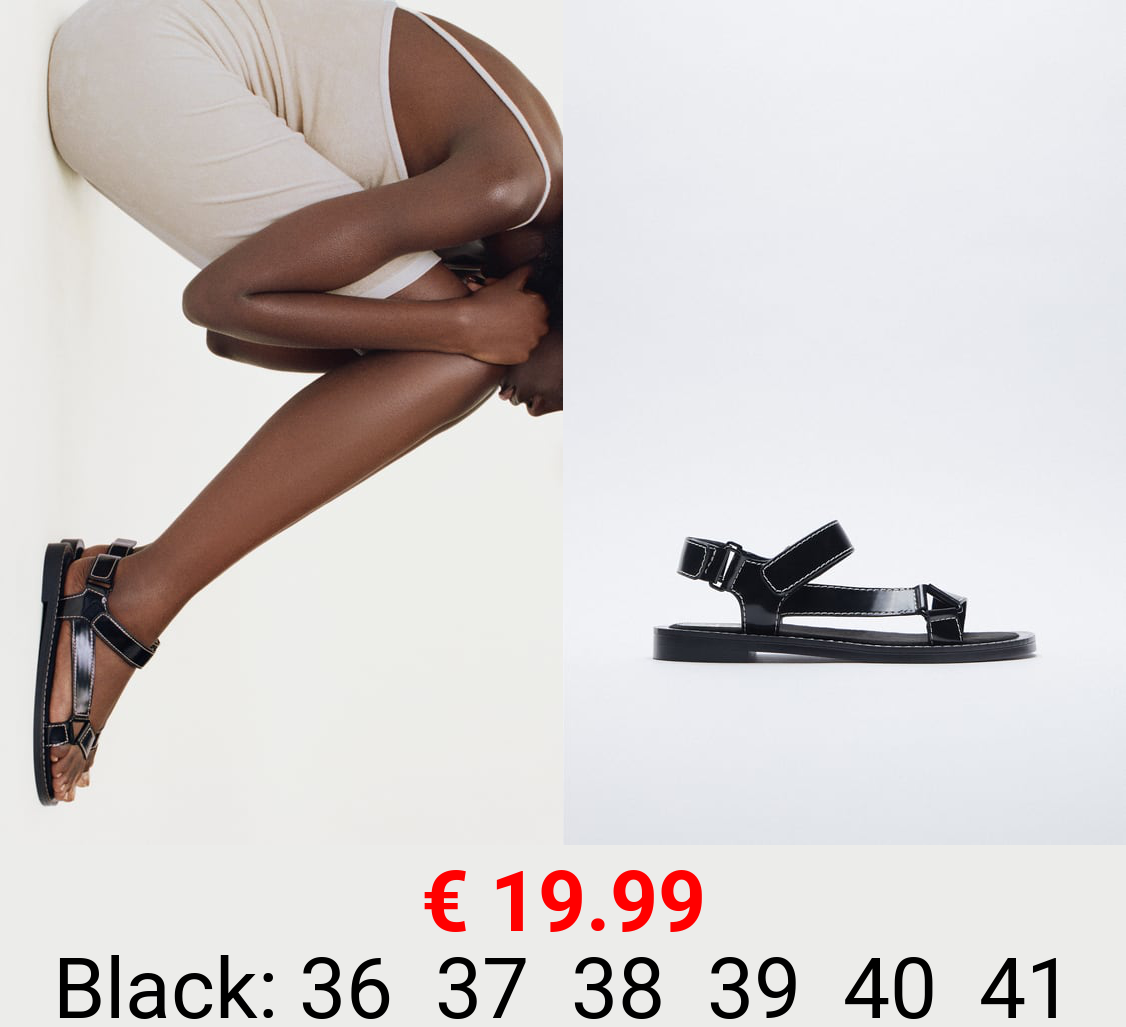FLAT SANDALS WITH TOPSTITCHED STRAPS