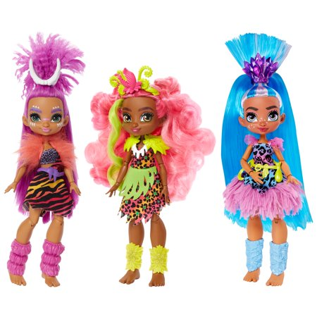 Cave Club Doll 3-Pack (10-inch) Poseable Prehistoric Fashion Dolls with Neon Hair