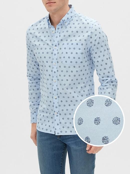 Print Poplin Shirt in Slim Fit