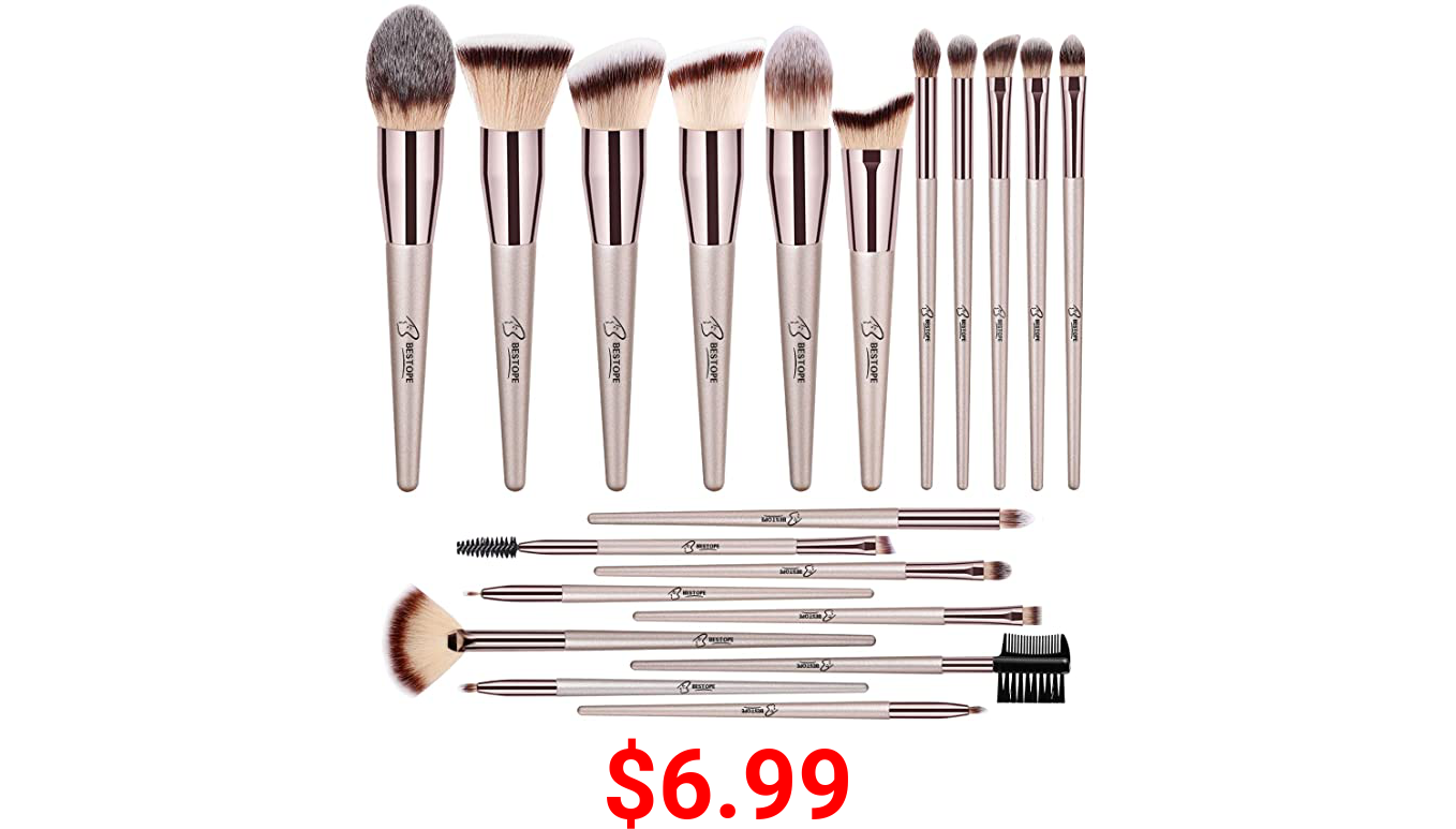 BESTOPE 20 PCs Makeup Brushes Premium Synthetic Contour Concealers Foundation Powder Eye Shadows Makeup Brushes with Champagne Gold Conical Handle
