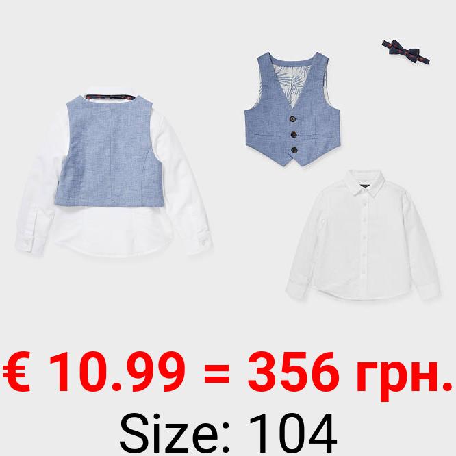 Set - Hemd, Weste und Fliege