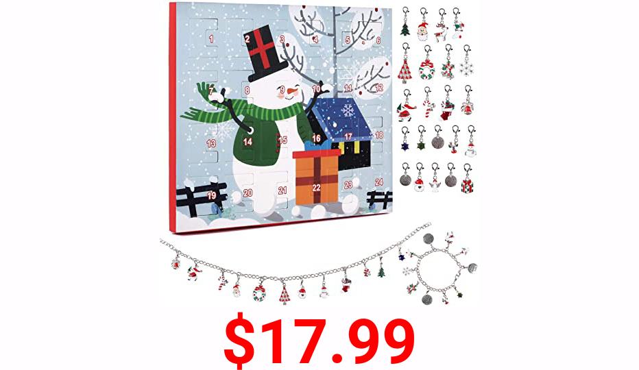 RECUTMS Christmas Advent Calendar 2021 Christmas Decoration Theme Ornaments DIY Creative Pendant Bracelet Necklace Calendar Kit 24PCS